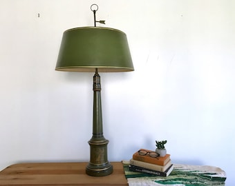 Large Mid Century Neoclassical Table Lamp With Olive Green Lamp Shade    Army Green   Imperial Antique   Double Light   Library Office Desk