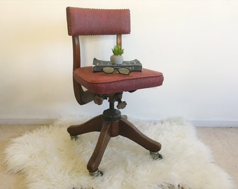 Antique Office Chair   Wood Vinyl   Mid Century   Industrial   Drafting    Stool   Side Table / Plant Stand / Night Table / Rustic   Red