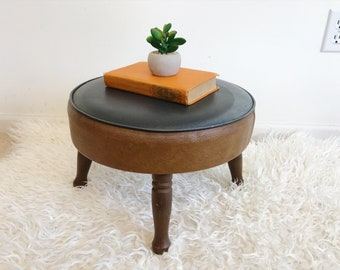 mid century modern dark vinyl ottoman foot stool wood legs bohemian foot rest side table mod rustic industrial decor - Leather Side Tables