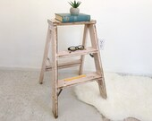 Vintage Folding Step Stool Ladder Soft Pink Rustic Industrial Side Table Plant Stand Display Accent Table Primitive Loft Factory