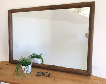 Antique Furniture Good Mirror The 60er Rockabilly Pattern Rectangular Wood Wall Mirror Other Reproduction Furniture