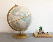 Vintage Mid-Century Table Globe 12 quot World Map Geography Decor Desk Top Decor Cream Gold Brass Travel Decor Library Study Office