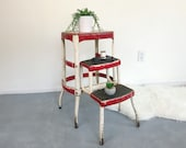 Vintage Step Stool Retro Ladder Kitchen Step Stool Chair Red Cream Industrial Mid Century Modern Side Table Plant Stand Hygge Accent