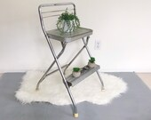 Vintage Folding Step Stool Ladder Kitchen Step Stool Chair - Silver Chrome Industrial - Mid Century Modern Side Table Plant Stand Accent