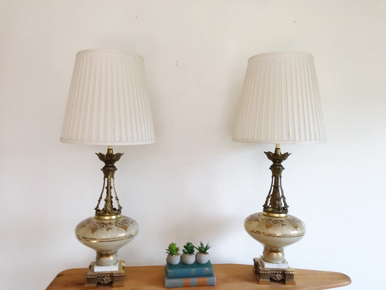d5aa8594a1d9 Pair of Vintage Italian Baroque Lamps With Shades Hollywood