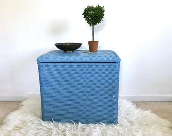 Vintage Blue Hamper -  Storage Box - Storage Table Stand - Basket with a lit - Rattan - Mid Century Modern