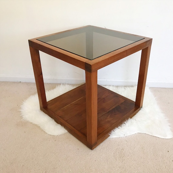 Mid Century Modern Side Sofa Table - Glass and Solid Walnut Wood - Cube -  Storage Shelf End Table - Coffee Table Denmark Modern - Minimalist