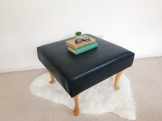 Amazing Large Vintage Ottoman Black Faux Leather Ottoman Mid Century Wood Side Coffee Table Plant Stand Minimalist Bohemian Scandinavian Classic Bralicious Painted Fabric Chair Ideas Braliciousco