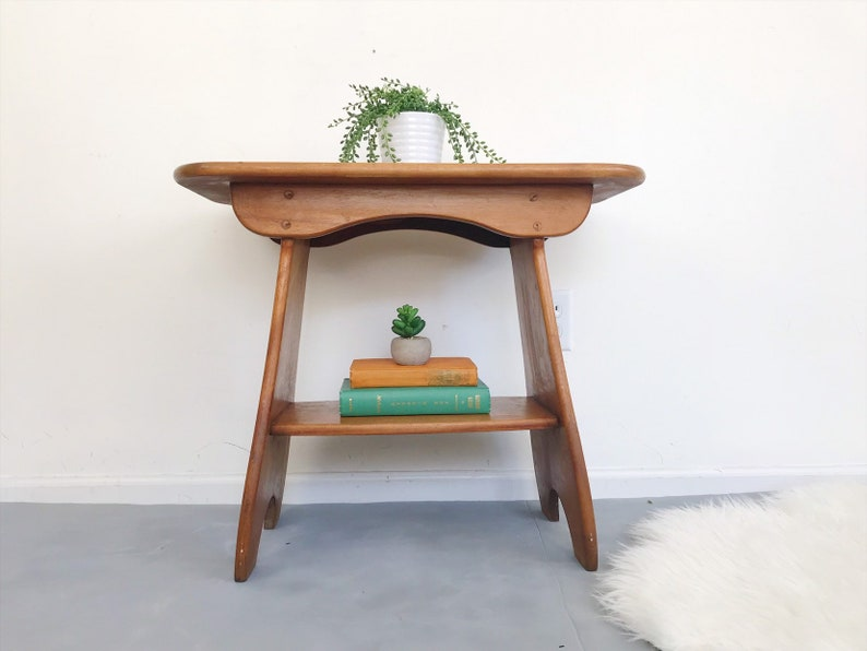 Swell Vintage Rustic Maple Wooden Side Coffee Table With Shelf Primitive End Table Mid Century Traditional Farmhouse Vermont Cottage Bohemian Forskolin Free Trial Chair Design Images Forskolin Free Trialorg