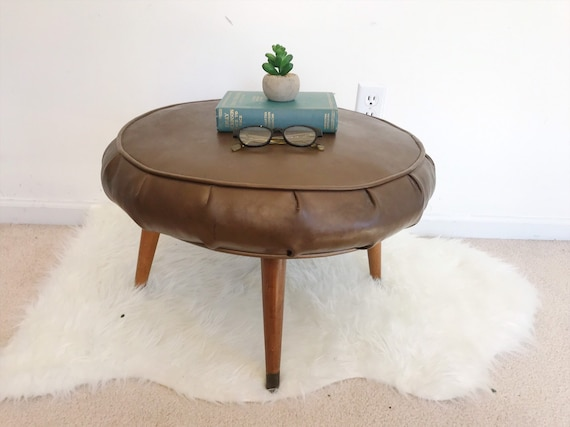 Amazing Vintage Round Ottoman Mid Century Modern Vinyl Stool Large Footstool With Wooden Legs Side Table Minimalist Scandinavian Denmark Caraccident5 Cool Chair Designs And Ideas Caraccident5Info