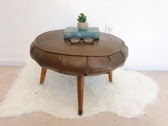 Prime Vintage Round Ottoman Mid Century Modern Vinyl Stool Large Footstool With Wooden Legs Side Table Minimalist Scandinavian Denmark Beatyapartments Chair Design Images Beatyapartmentscom