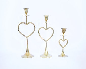 Set of 3 Heart Shaped of Mid Century Modern Candle Holders