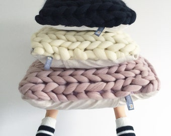 Chunky knit cushion ONLY COVER  (3 sizes - 11 colours)
