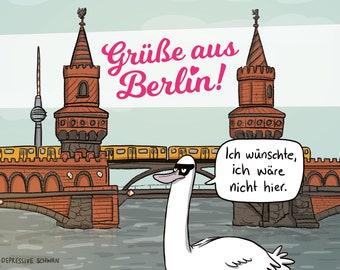 The depressive swan |postcard