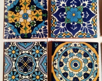 Mexican Tile Refrigerator Magnet Set of 4 strong neodymium #10 gift