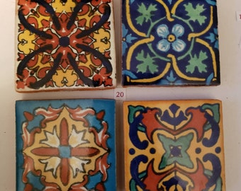 Mexican Tile Refrigerator Magnet Set of 4 strong neodymium #20 gift