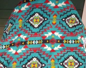 67 inch piece Turquoise Native Aztec Southwest Vibrant Anti-pill Fleece Fabric