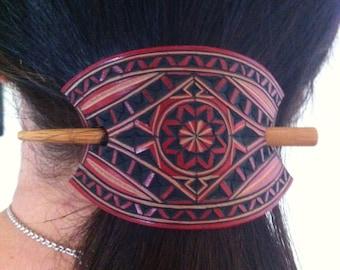 Mini carved leather hair barrette - Geometric design hair barrette - pony tail holder