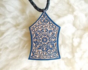 Blue geometric hand carved leather pendant - tooled leather jewelry