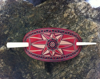 Red hand carved leather hair barrette - hair accessories - Stick Barrette - Hair Slide