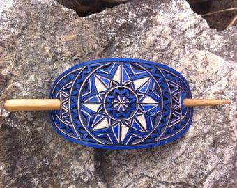 Geometrical blue hand carved leather hair barrette - hair accessories - Stick Barrette - Hair Slide