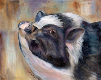 Pig painting on canvas, Giclee Print