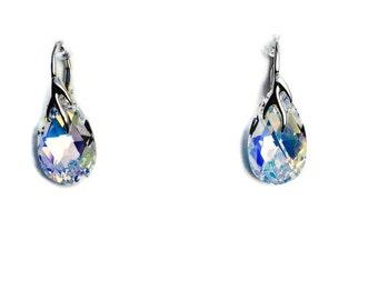 Crystal AB Swarovski Crystal Sterling Silver Drop Earrings