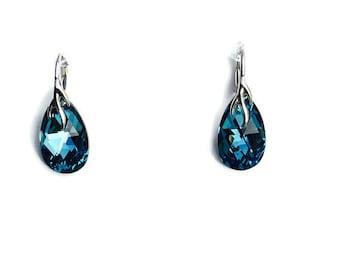 Bermuda Blue Swarovski Crystal Sterling Silver Drop Earrings