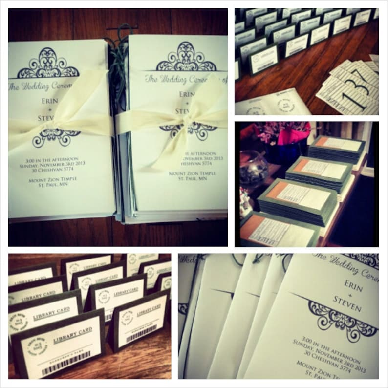 Library Themed Wedding Invitation Bundle  Place Cards image 0