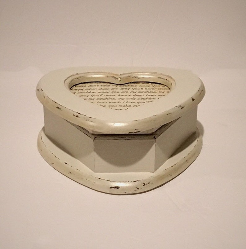 Antique White Shimmer Wood Heart Shape Jewelry Box with the lyrics You Are My Sunshine