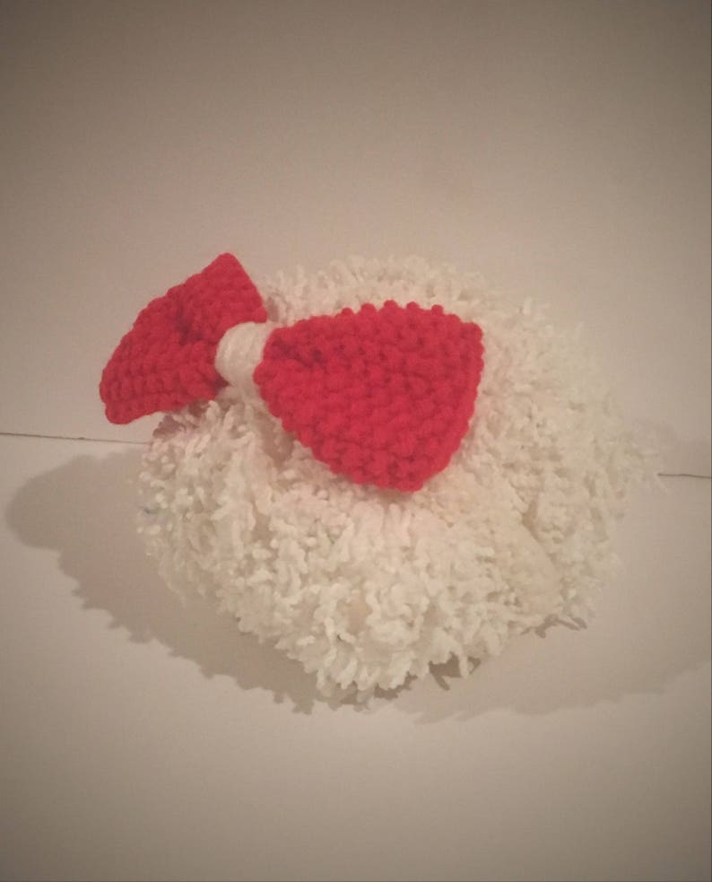 Hand Knit Newborn Bow Headband in red and white with free domestic shipping