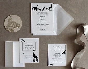 Elegant Zoo wedding invitation - silhouettes customize with your pet