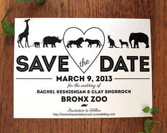 Save the Date for a Zoo Wedding, customized with envelopes, add your pet, set of 25