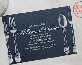 Printable rehearsal dinner invitation - Vintage theme - DIY customizable colors and text