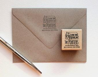 Custom Return address stamp with illustration of your home, house, return address stamp, illustration, personalized gift, housewarming