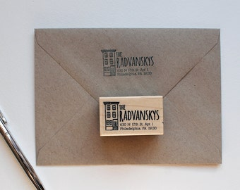 Custom Return address stamp with illustration of your home, house, apartment, condo, return address stamp, illustration, personalized gift