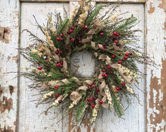 silver bush twig dried silverweed larkspur berry and pine with burlap curl winter wreath 24 - Christmas Wreaths Etsy