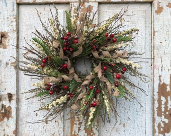silver bush twigs silverweed pine red berry and burlap curl winter wreath 18 - How To Decorate A Burlap Wreath For Christmas