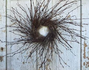 "Natural Birch Simple Twig Wreath - 20"""