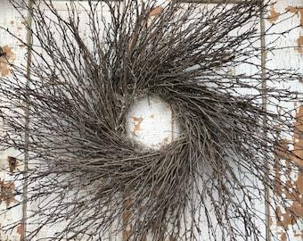 "Natural Brush Twig Wreath - 30"""