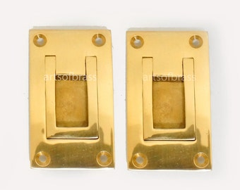 "2.79"" inches Lot of 2 pcs GOLD FINISHING Solid Brass Flush Mount Ring Cabinet Door Drawer Handles"