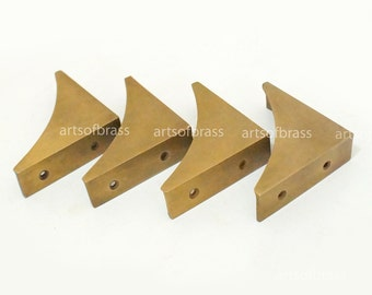 """2.75"""" inches lot of 4 pcs Vintage Western Table Cabinet Trunk Corner Protector Solid Brass Corner Protector T015M"""