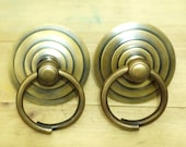 3.50 quot Lot of 2 pcs Vintage Big Round Swirl Antique Round Cabinet Door Solid Brass KNOB Drawer Pulls
