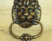 6.22 quot Inches Antique Vintage Solid Brass Lion King Head front Door KNOCKER with Pull Ring Knocker Door Protector