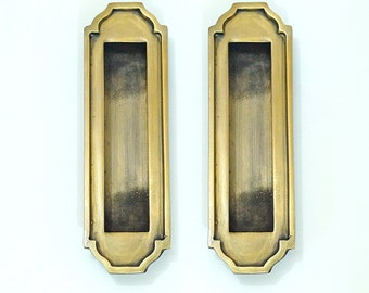 4.72 inches Lot of 2 pcs Vintage Solid Brass Rectangular Grip Baldwin Flush Pull Handle H024