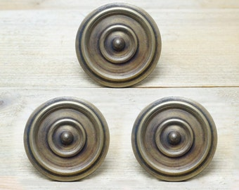 """1.96"""" inches Lot of 3 pcs Vintage Solid Brass Retro Big Round Line Nail / Spike / Thumbtack / Hob Decor AA044"""