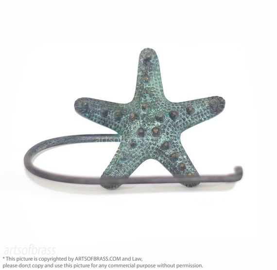 Starfish Decoration Beach Kitchen Decorating Antique Gold Cast Iron Starfish Paper Towel Holder 15 Inch