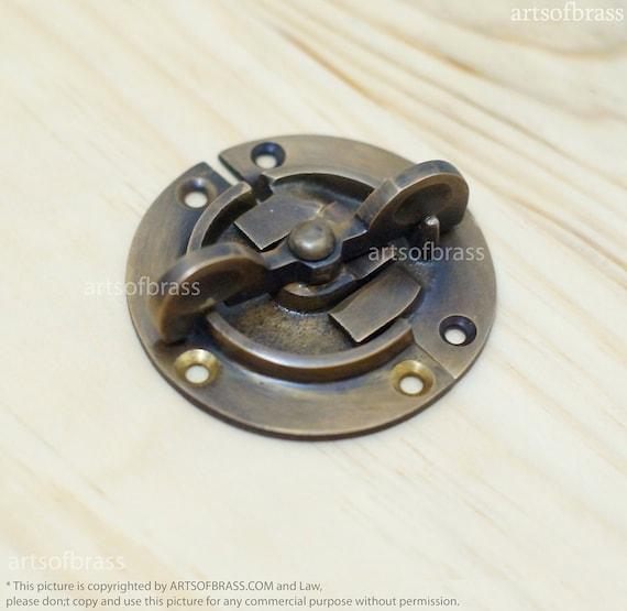 2.41 inches Vintage Retro Round Safe BOX DOOR LATCH Antique Solid Brass Latch Lock