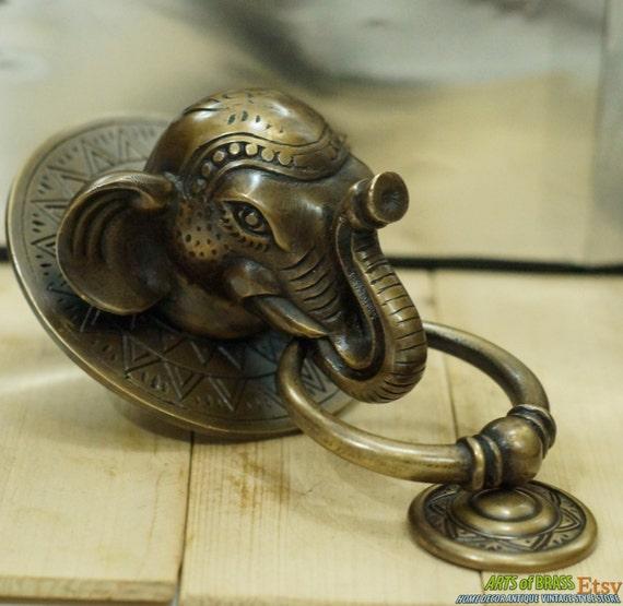 Brass Elephant Door Knocker Handle Vintage Antique Finish Unique Home Decor US