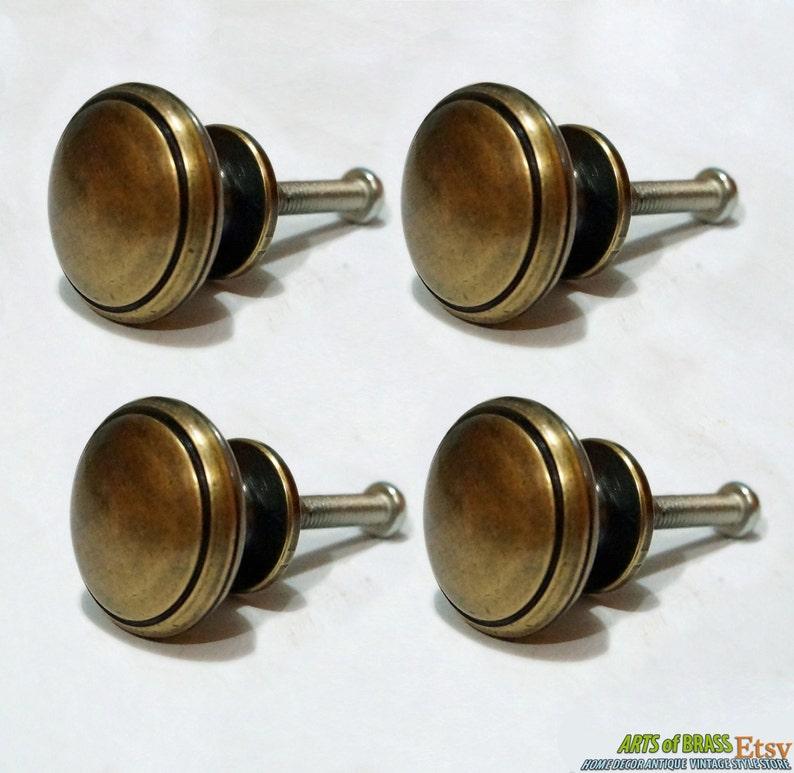 Lot of 4 pcs Vintage SIMPLE PLAIN Antique Solid Brass Handle Cabinet Drawer Handle Pulls
